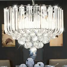 hänge decken leuchte chrom kristall klar luster esszimmer