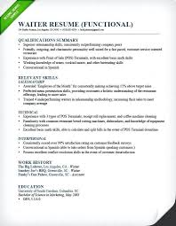 Resume Examples For Restaurant Waiter Functional Example Objective Hostess