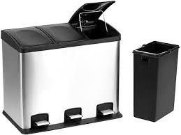 36l 3fach edelstahl mülleimer küche schwarz matt abfalleimer