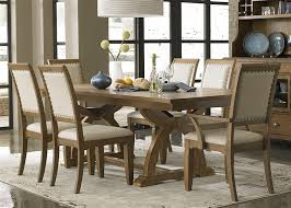 Town Country Trestle Table 7 Piece Dining Set In Sandstone Finish By Liberty Furniture