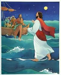 Jesus Walking On Water And Helping Peter In The Storm Coloring Pages