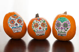 Day Of The Dead Pumpkin Carving Patterns by No Carve Sugar Skull Pumpkins Brit Co