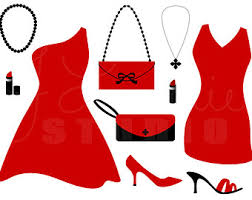 Little Red Dress Digital Clipart Cocktail Party Fashion Shoes Bachelorette Girls