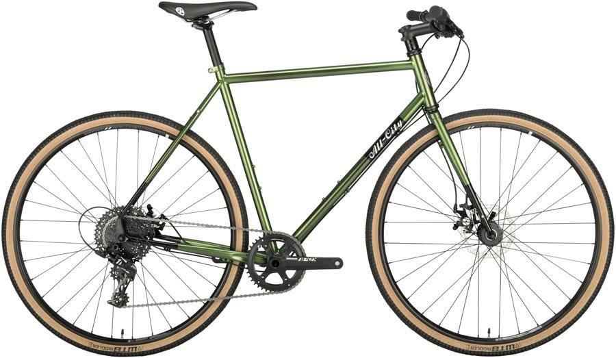 All City Macho Man Disc Flatbar Bike Multi Speed Bicycle - Olive Fab, 58cm