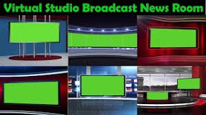 Virtual Studio Broadcast News Room Background Display Green Screen Chroma Key Footage
