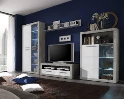 wohnwand wohnzimmer set 4 tlg anbauwand vitrine kommode wandboard tv lowboard grau beton weiß hochglanz inkl led bel kalt weiß