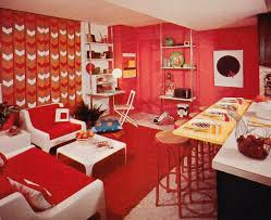 Vintage Mod Home Decor Orange Living Room With Bar Eating Area On The Side I Definitely Want To Decorate Some Of These Piecesthink Ill Give My