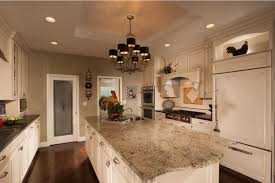 Kitchen White French Country Cabinets Checkerboard Vinyl Tile Flooring Round Backrest Railing Stools Natural