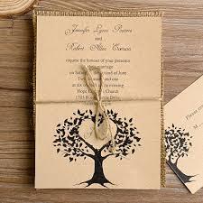 Tree Burlap Layered Rustic Wedding Invites EWLS013