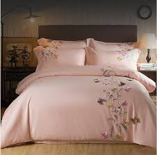 2017 Egypt Cotton pink Butterfly Embroidery Luxury Bedding Set