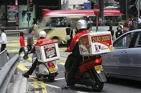 Hongkong Island Delivery Service On Bikes Pizza Hut KFC Honkong China