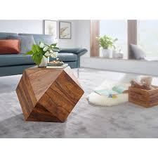 wohnling couchtisch 57 x 42 5 x 57 cm sheesham massivholz sofatisch modern wohnzimmertisch in diamantform holztisch massiv wohnzimmer echtholz