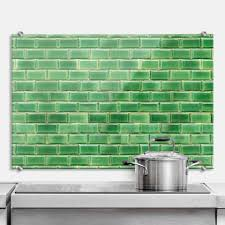 glas spritzschutz grüne kacheln küchenrückwand 4mm esg