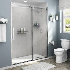 100 In Marble Walls American Standard Passage 60in X 72in 4Piece GlueUp Shower Alcove Wall In Platinum
