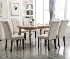 Clearance! Tufted Linen Dining Chairs Set Of 2, Upholstered High Back  Padded Dining Chairs W/Solid Wood Legs, Classic Fabric Parsons Dining Side  Chair ... Upholstered Ding Bench With Black Tone Pedestal Of Amazing French High Back Tufted Chair Set Of 2 Paragon Extending Table And 6 Chairs Boju Comfortable Room Armless Only Grey Fabric Kitchen Side For Bedroom Living Ding Room Chairs Chestnut Gray Weave Ophelia Co Kamron Skovby Rosewood My 1stdibs Elizabeth Velvet Glam Nailhead Accents Details About 4x Button New Large Circular Solid Oak Table With Square Leg Minimalist Elegant