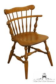 ETHAN ALLEN Heirloom Nutmeg Maple Colonial Style Comb Back Accent / Dining  Arm Chair 459
