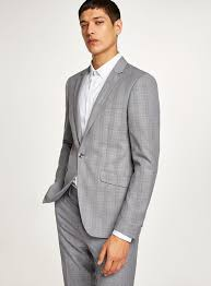 Black And White With Lilac Check Skinny Fit Suit