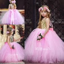 2018 new cute pink tulle flower girls dresses top sparkly sequins