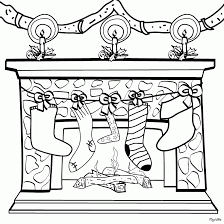 Christmas Stockings And Decoration Coloring Page
