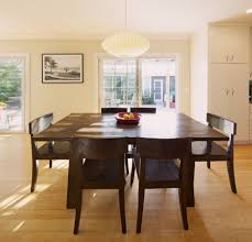 Large Square Dining Table Room Contemporary With Bamboo Flooring Dark Wood
