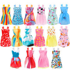 10 Pack Barbie Doll Clothes Party Gown Outfits With 10 Pairs Doll