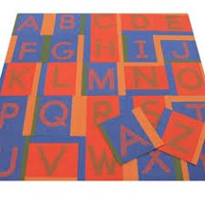 save on 2 shades of orange and yellow modular carpet tiles on