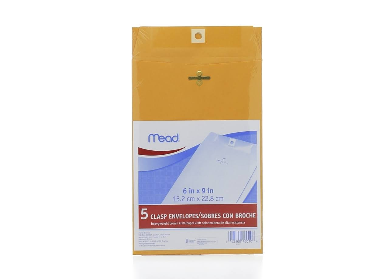 "Mead 76010 Heavyweight Brown Kraft Clasp Envelopes Clasp - Kraft - Brown, 6"" x 9"", x5"