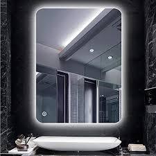 turefans badspiegel mit beleuchtung badezimmerspiegel kaltweiß 6400k wasserdicht berührungsschalter 50 70 cm