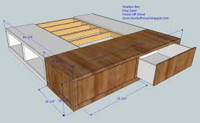 fabulous king size bed frame with drawers plans and ana white king
