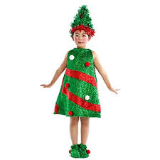 SUNBIBE 4 15 Years Old Kids Girls Christmas Tree Style Costume Party Dresses Hat