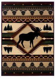 Moose Wilderness Rustic Area Rug Log Cabin Decor And Western Ranch
