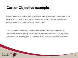 Internship Resume Objectives Examples Summer