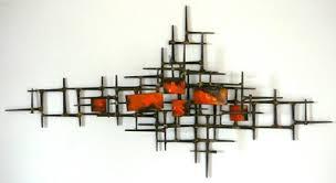 Vintage Metal Wall Art Sculpture Mid Century Modern Nails Orange Enamel Abstract