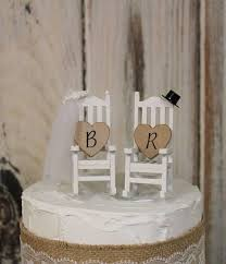 Wedding Cake Topper Bride And Groom Rocking Chairs Country Barn Wooden Rustic
