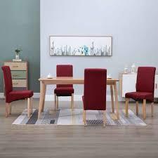 186 99 vidaxl esszimmerstühle 4 stk rot stoff