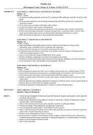 Download Electrical Mechanical Technician Resume Sample As Image File