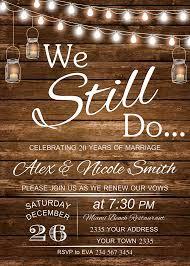 Vow Renewal Invitation Wedding Anniversary Invitations We Still Do Invite Rustic String Lights Light Bulb Mason Jar