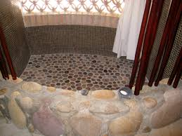 regal asian bathroom decors with river pebble shower floor added
