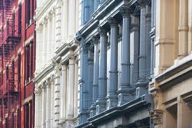 100 Townhouse Facades USA New York State New York City Manhattan Colorful Facades Of Townhouses Stock Photo