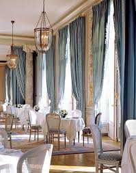 Blue Jacquard Damask Curtains Add Serious Drama To The Dining Room Of Cercle De L