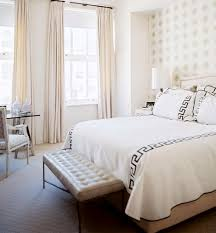 Foxy White Chic Bedroom Decoration Using All Grey Pattern Wallpaper Including Rectangular Tufted Cream