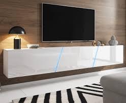 tv lowboard slant in hochglanz weiß lack tv unterteil hängend stehend board 240 cm inkl led beleuchtung