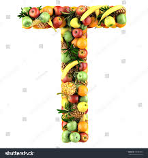 Letter T Made Fruits Isolated Stock Illustration