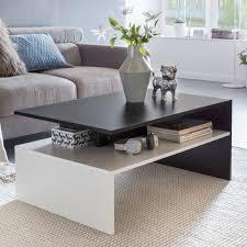 murphy wohnzimmertisch 90 x 43 x 60 cm mit ablage holz schwarz weiß design wohnzimmer couchtisch zweiteilig mit stauraum sofatisch eckig