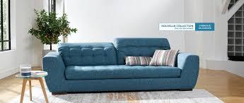 canapé cuir tissu cuir center alba canapé 3 places en tissu têtières réglables 6
