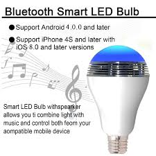 smart led light bulb wireless bluetooth audio speakers alarm clock