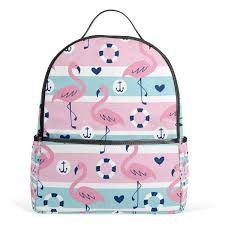 Amazoncom Pink Flamingo School Backpack Canvas Rucksack Large