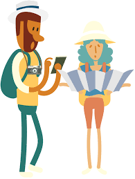 Young Couple Backpackers Traveling With Big Bags And Map