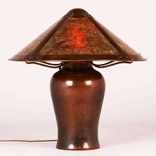 Mica Lamp Shade Company by Early Michael Adams Hammered Copper U0026 Mica Lamp 1988 California