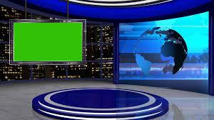 News TV Studio Set 24 Virtual Green Screen Background Loop Stock Video Footage